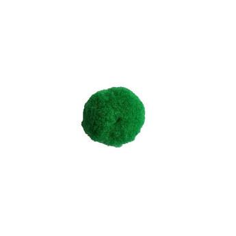 Текстильная мохнатая бусина-помпон, цвет - зеленый, 4см