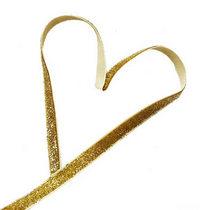 Бархатная лента с люрексом 1 см., цвет золото, 1м.