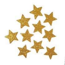 Звезды из фоамирана с глиттером 3,5 см, цвет золото, 10 шт.