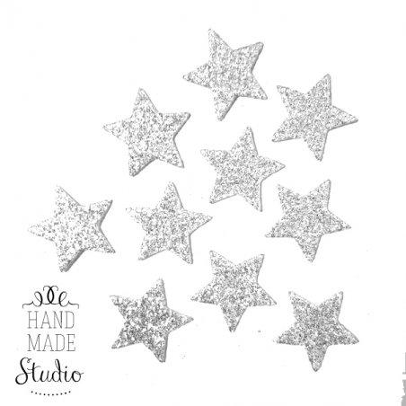 Звезды из фоамирана с глиттером 3,5 см, цвет серебро, 10 шт.