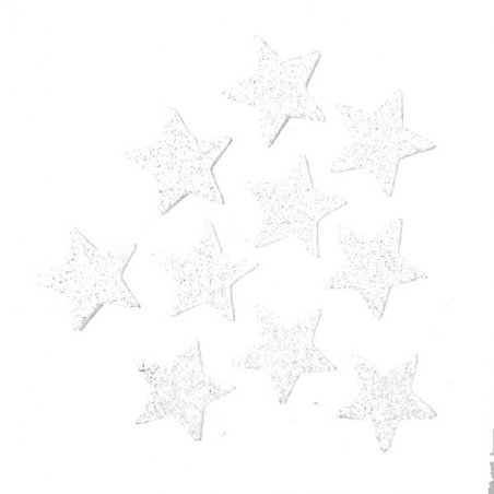 Звезды из фоамирана с глиттером 3,5 см, цвет белый, 10 шт.