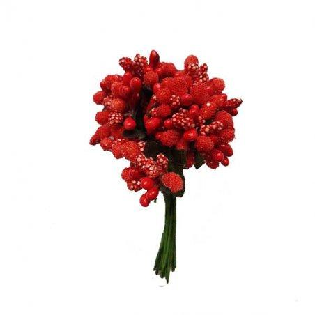 """Тычинки на проволоке сложные с ягодками и листьями """"Незабудки"""", цвет красный"""