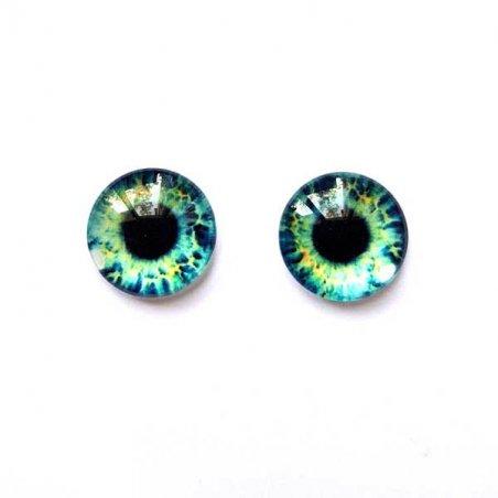 Глазки стеклянные для кукол №77201 (пара), 8 мм, цвет мятно-синие