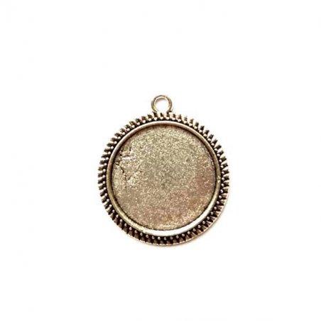 Основа для декорирования круглая, цвет античное серебро d 25 мм