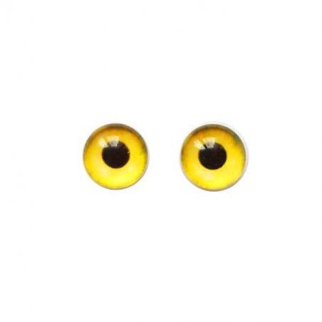 Глазки стеклянные для кукол №77207 (пара), 8 мм, цвет желтый