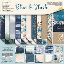 """Набор двусторонней бумаги 20х20см """"Blue and Blush"""", 190г/м2, 10шт"""