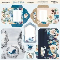 "Лист двусторонней бумаги 20х20см Конверты ""Blue and Blush"" от Scrapmir, 190г/м2, 1 лист"