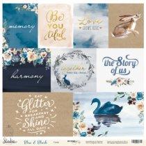 """Лист односторонней бумаги 30x30 Cards """"Blue and Blush"""", 190г/м2, 1 лист (ENG)"""
