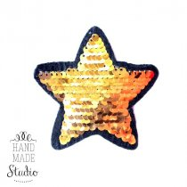 Термонашивка Звезда №4 из двусторонних пайеток-перевёртышей, 8х8 см