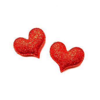 """Текстильный декор """"Сердечко с глиттером"""", цвет красный, 2 шт,  4,5х4,7 см"""
