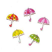 """Пуговицы из дерева  для скрапбукинга """"Зонтики"""", 3,5х3 см (5 штук)"""
