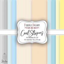 "Набор двусторонней фоновой бумаги 15х15 см ""Cool Stripes"", 175г/м2, 10шт"