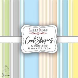 "Набор двусторонней фоновой бумаги 30,5х30,5 см ""Cool Stripes"", 175г/м2, 12шт"