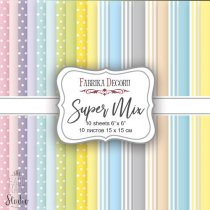 """Набор двусторонней фоновой бумаги 15х15 см """"Super Mix"""", 175г/м2, 10шт"""