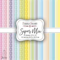 """Набор двусторонней фоновой бумаги 30,5х30,5 см """"Super Mix"""", 175г/м2, 12шт"""
