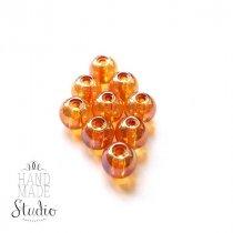 Бусины стеклянные оранжевые (хамелеон), 8 мм, №64, 10 шт
