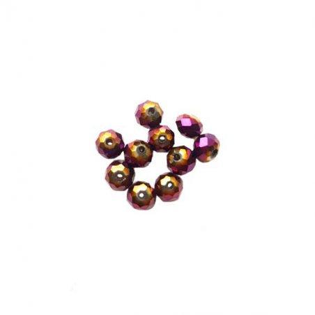 Бусины чешский хрусталь 8 мм, цвет лиловый с напылением №170, 10 шт