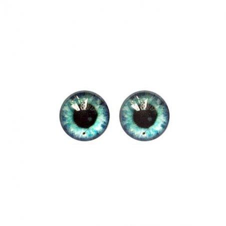 Глазки стеклянные для кукол №77212 (пара), 8 мм, цвет серо-бирюзовый