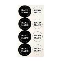"""Круглые черно-белые наклейки на листе""""HAND MADE"""" d 3,7 см, 8 шт"""