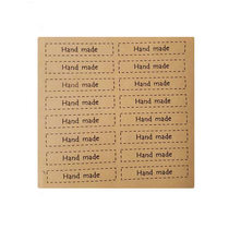 "Крафт наклейки-бирки на листе ""Hand made"" 7х1,5 см, 16 шт"