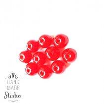 Бусины стеклянные красные прозрачные, 8 мм, №65