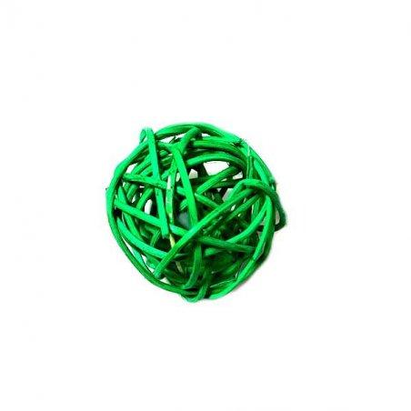 Шарик из ротанга, цвет зеленый, 3 см.
