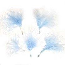 Перья пуховые небесно-голубые, 5 штук