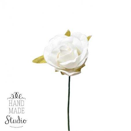 Роза тканевая 2,5см., цвет белый