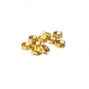 Разделитель с хрустальными стразами, цвет золото 6 мм