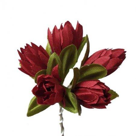 Букетик тюльпанов 1 см, цвет бордовый (5 штук)