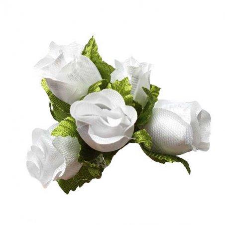 Букетик розочек с листиками 1,5 см, цвет белый (5 штук)