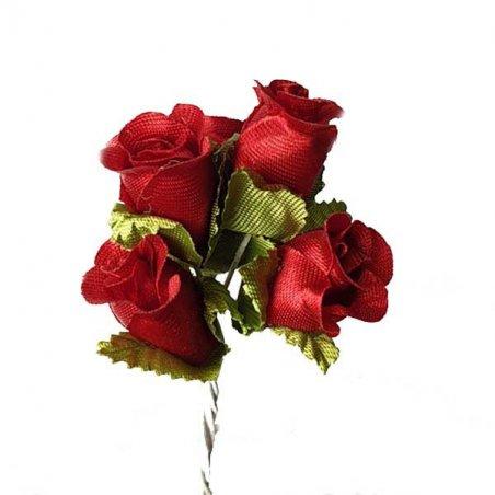 Букетик розочек с листиками 1,5 см, цвет бордовый (5 штук)