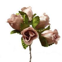 Букетик розочек с листиками 1,5 см, цвет пудрово-розовый (5 штук)