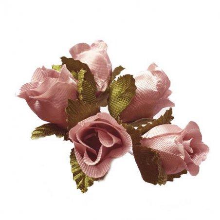 Букетик розочек с листиками 1,5 см, цвет светло-розовый (5 штук)