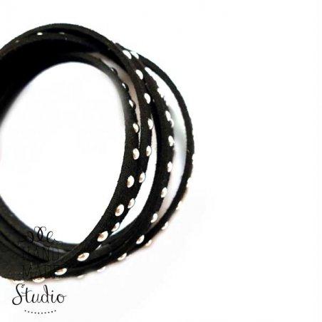 Замшевый шнур с металлическим декором, цвет черный, 5 мм (1,2м.)