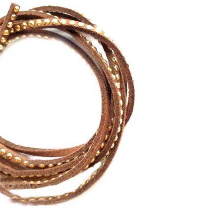Замшевый шнур с металлическим декором, цвет коричневый, 3 мм (1,2м.)