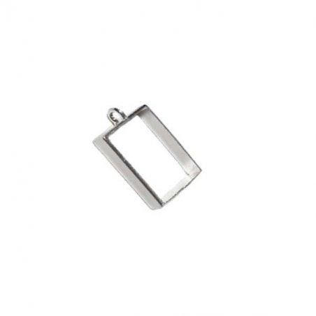 """Рамка (сеттинг) под заливку эпоксидной смолой """"Прямоугольник"""" №1 (сталь), 2х2,5 см"""