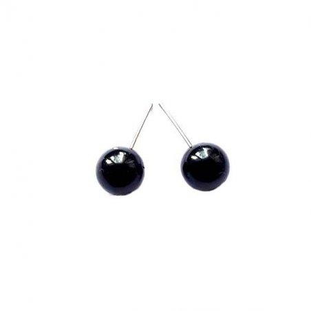 Стеклянные круглые глаза для игрушек d 10 мм, цвет черный
