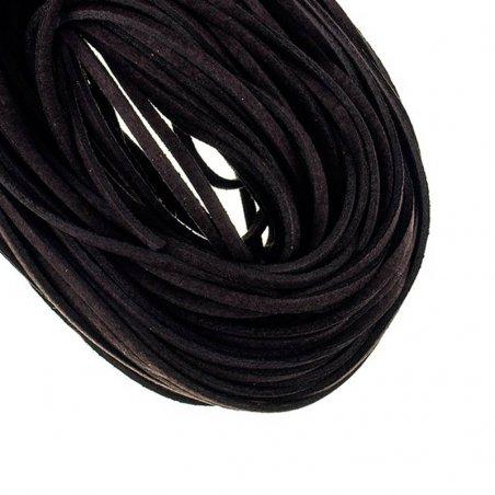 Замшевый шнур, цвет  черный, толщина 3  мм (1м.)