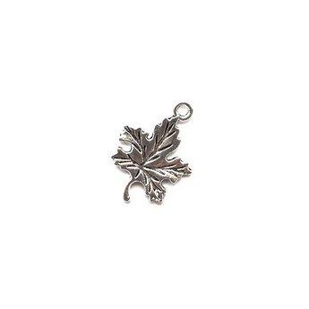 Серебряная металлическая подвеска Кленовый листик №6, 2,3х1,6 см