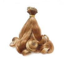 Искусственные  волосы локоны на трессе 15 см №6, цвет русый с растяжкой цвета