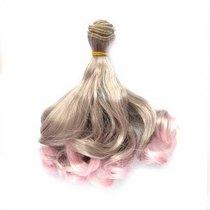 Искусственные  волосы локоны на трессе 15 см №7, цвет серебристо-розовое омбре