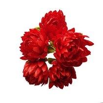Букетик хризантем 3 см, цвет красный (5 штук)
