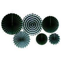 Набор бумажных вееров для декора, цвет черный с полосами (6 штук)
