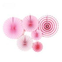 Набор бумажных вееров для декора, цвет розовый с полосами (6 штук)