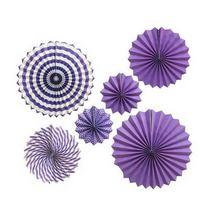 Набор бумажных вееров для декора, цвет фиолетовый с полосами (6 штук)