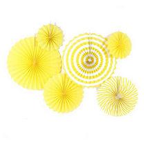 Набор бумажных вееров для декора, цвет желтый с полосами (6 штук)
