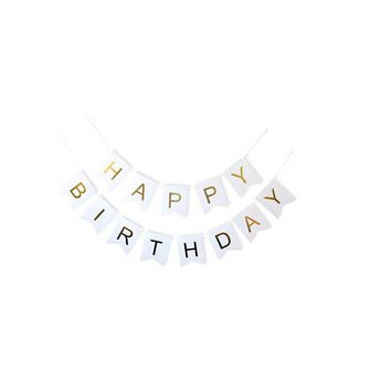 """Бумажная гирлянда из флажков """"Happy Birthday"""", цвет белый, 3м"""