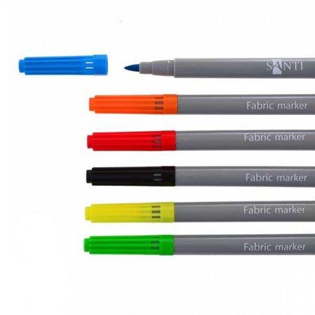 """Набор маркеров для ткани """"SANTI"""", 6 цветов"""