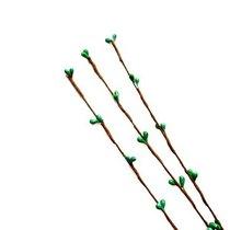 Декоративная веточка Котики, цвет малахитовый